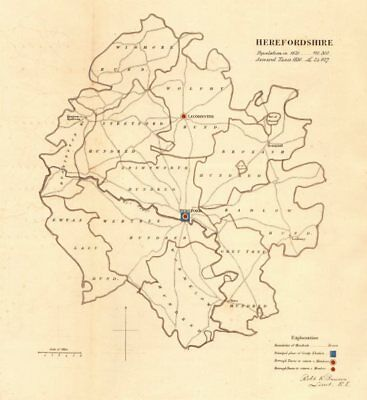 Herefordshire county map. Boroughs electoral. REFORM ACT. DAWSON 1832 old