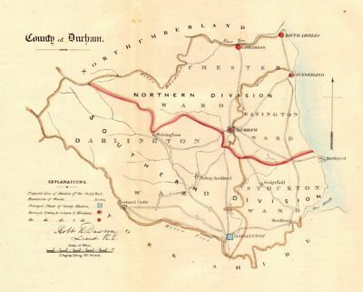 County Durham map. Divisions boroughs electoral. REFORM ACT. DAWSON 1832