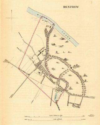 RENFREW borough/town plan for the REFORM ACT. Scotland 1832 old antique map
