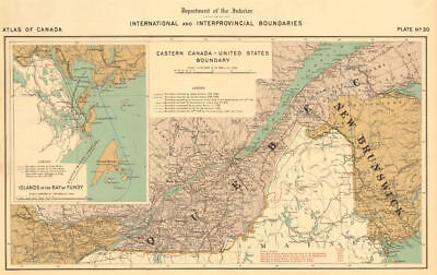 US-CANADA BOUNDARY DISPUTE. Ashburton Treaty 1842. Maine Quebec NB 1906 map