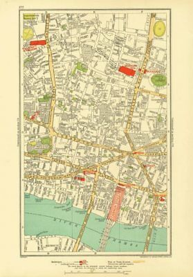 LONDON. City. Barbican Moorgate Bank Cannon Street 1933 old vintage map chart