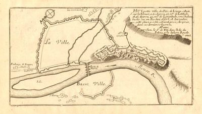 Huy. Plan of town/city & fortifications. Belgium. DE FER 1705 old antique map