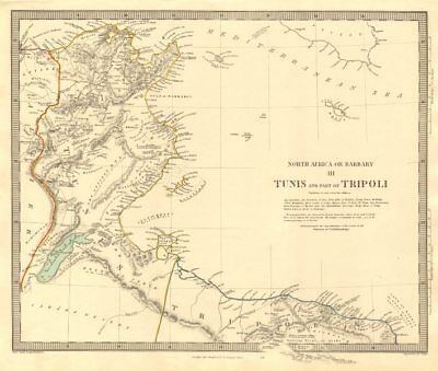 NORTH AFRICA OR BARBARY III. Tunis & Part of Tripoli Tunisia Libya SDUK 1846 map