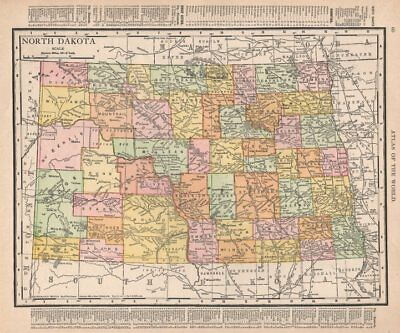 North Dakota state map showing counties. RAND MCNALLY 1912 old antique