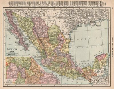 Mexico. Mexico City environs inset. RAND MCNALLY 1912 old antique map chart