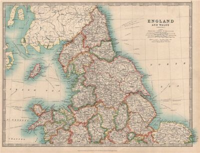 NORTHERN ENGLAND & WALES Yorkshire Ridings Lincolnshire Parts. JOHNSTON 1912 map