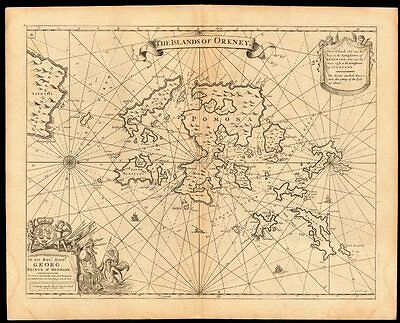 'The Islands of Orkney' sea chart by Capt G. COLLINS. Pomona Hoy &c c1774 map