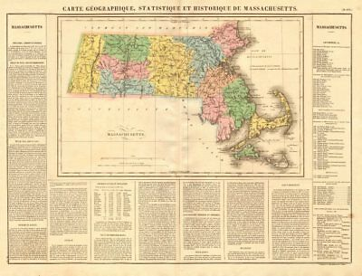 Massachusetts antique state map. Includes Boston Corner. Counties. BUCHON 1825