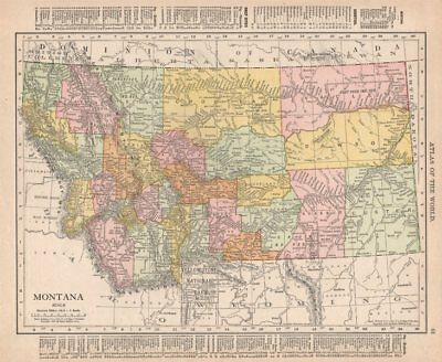 Montana state map showing counties. Yellowstone. RAND MCNALLY 1912 old