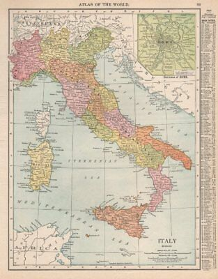 Italy. Inset Rome environs. RAND MCNALLY 1912 old antique map plan chart