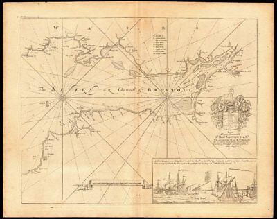 'The Severn or Channell of Bristoll' sea/estuary chart by Capt COLLINS c1774 map