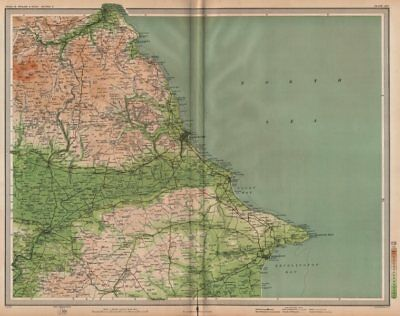 YORKSHIRE COAST. Scarborough Whitby Filey Bridlington Pickering. LARGE 1903 map