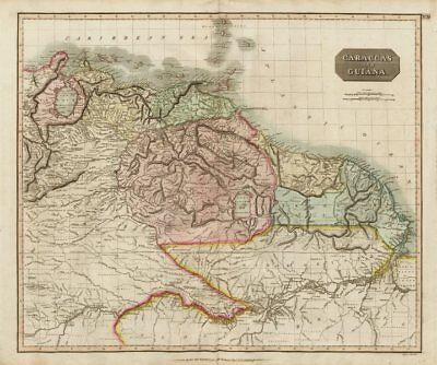 """Caraccas and Guiana"" by John Thomson. Venezuela Guyana Amazonas 1817 old map"