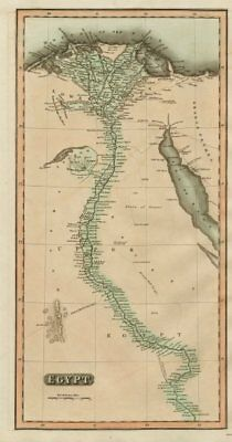 """Egypt"". Nile Valley. Eyles Irwin's route from India. THOMSON 1817 old map"