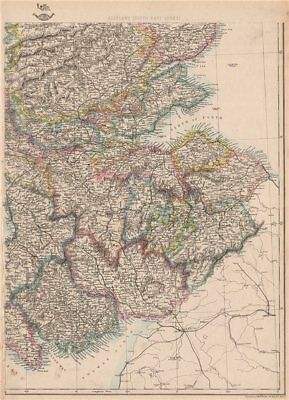 SCOTLAND SOUTH EAST. Borders Central Edinburgh Glasgow Railways.WELLER 1862 map