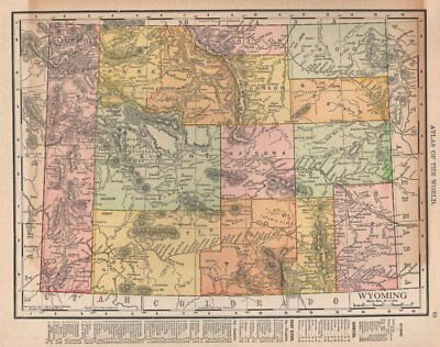 Wyoming state map showing counties. Yellowstone. RAND MCNALLY 1912 old