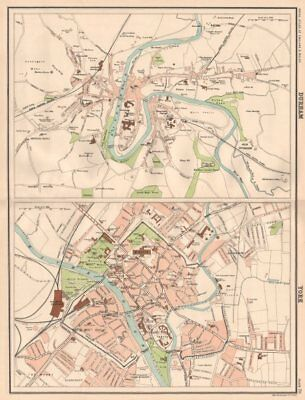 DURHAM & YORK antique town city plans. BARTHOLOMEW 1898 old map chart