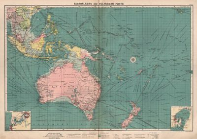 Australasian Polynesian Ports sea chart. lighthouses mail routes LARGE 1918 map