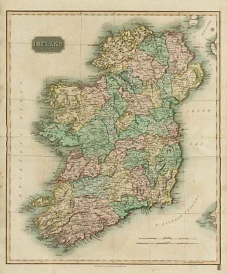 """Ireland"" by John Thomson. Coach roads 1817 old antique vintage map plan chart"