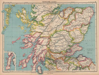 CENTRAL SCOTLAND. Showing counties. BARTHOLOMEW 1944 old vintage map chart