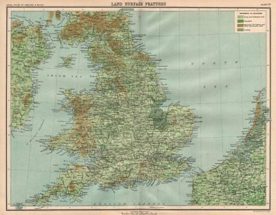 ENGLAND & WALES surface features. Grassland moorland fenland woodland 1898 map