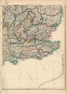 SOUTH EAST ENGLAND. Home Counties Surrey Kent Sussex Hants &c. WELLER 1863 map
