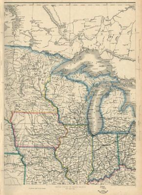 USA NORTH CENTRAL. Midwest. w/ Minnesota Territory pre-Dakota. ETTLING 1863 map
