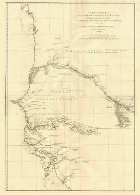 Côte occidentale de l'Afrique. W Africa.Senegal Gambia rivers.D'ANVILLE 1751 map