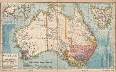 AUSTRALIA. White=unexplored. Violet & green=best sheep country. LETTS 1889 map