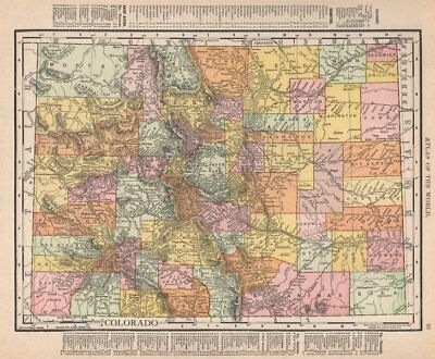 Colorado state map showing counties. RAND MCNALLY 1912 old antique chart
