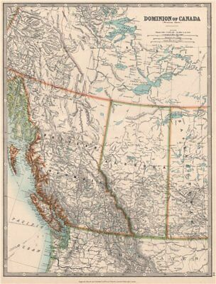 BRITISH COLUMBIA & ALBERTA. Railways. Vancouver Island. JOHNSTON 1912 old map