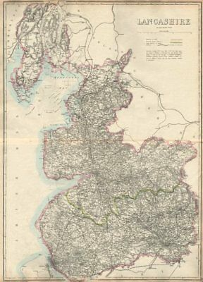 LANCASHIRE. Large antique county map. Railways. WELLER. Dispatch atlas 1863
