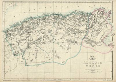 NORTH AFRICA. 'Algeria and Tunis'. Tunisia. WELLER 1863 old antique map chart