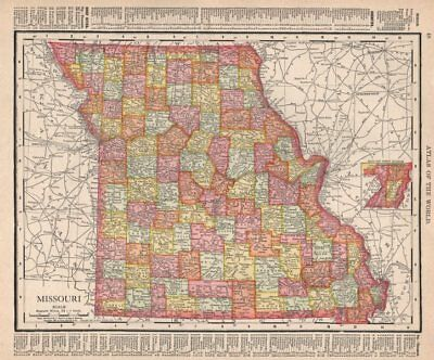 Missouri state map showing counties. RAND MCNALLY 1912 old antique chart