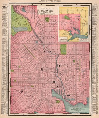 Baltimore town city map plan. Maryland. RAND MCNALLY 1912 old antique