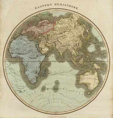"""Eastern hemisphere"". Europe Africa Asia Australasia. THOMSON 1817 old map"