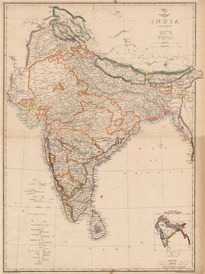 INDIA British/protected/ind states.Completed & planned railways.WELLER 1862 map