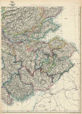 SCOTLAND SOUTH EAST. Borders Central Edinburgh Glasgow Railways.WELLER 1863 map
