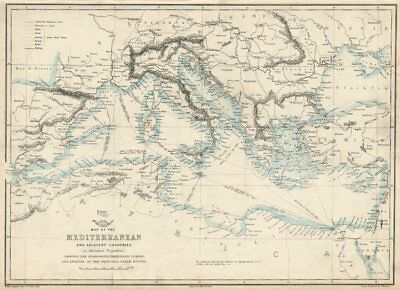 MEDITERRANEAN SEA. Submarine telegraph cables. steamship routes. LOWRY 1863 map