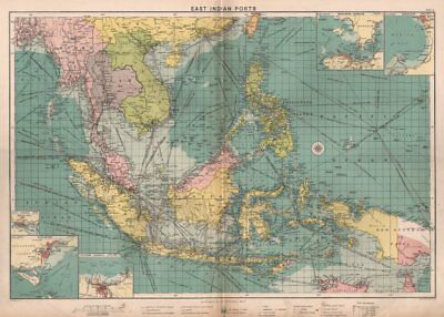 East Indies Ports sea chart. lighthouses mail routes. Indochina. LARGE c1914 map