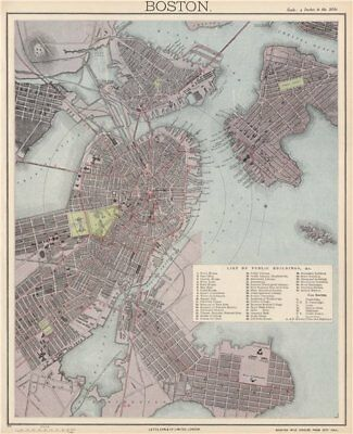 BOSTON antique town city map plan. Charlestown. LETTS 1889 old