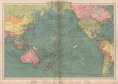 Pacific Ocean sea chart. Ports lighthouses mail routes dockyards LARGE 1918 map