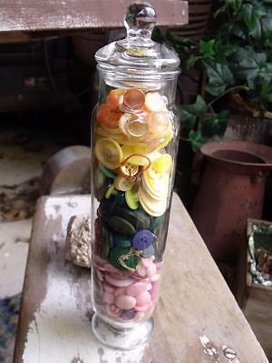 Sweet Tall Vintage Clear Glass Jar Filled With Spring Colored Buttons