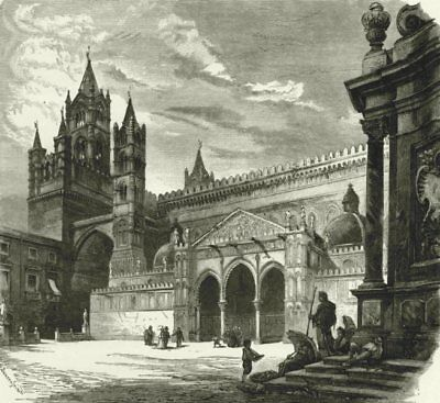 ITALY. Sicily. Cathedral of Palermo 1877 old antique vintage print picture