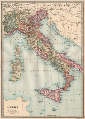 ITALY. without Istria & South Tyrol. BARTHOLOMEW 1890 old antique map chart