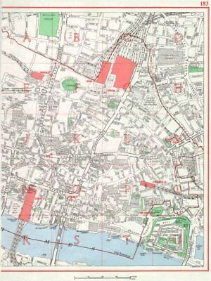 CITY OF LONDON. Moorgate Broad St Liverpool St Cannon St Monument 1964 old map