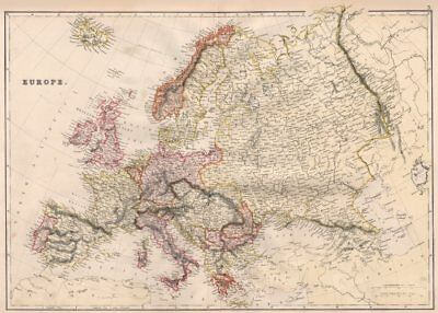 EUROPE POLITICAL. Russia excludes Georgia. BLACKIE 1882 old antique map chart