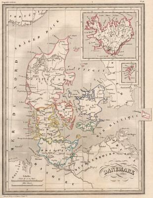 DENMARK & ICELAND Danemark Islande.Original outline colour.MALTE-BRUN c1846 map