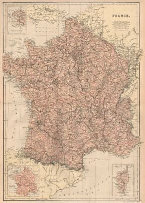 FRANCE. Departements. Railways. Inset in Provinces. BLACKIE 1882 old map