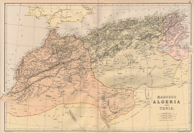 MAGHREB. North Africa. Marocco Algeria and Tunis. BLACKIE 1882 old antique map